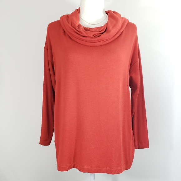 Lou & Grey Tops - Lou & Gray Soft Burnt Orange Cowl Neck Pullover, S